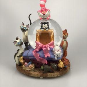 Disney Cats Globe met Muziekdoos fotolijstje Cheshire met Bubblehead
