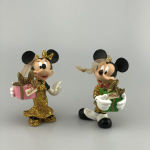 Kerst Ornament Kerstbal Set Mickey en Minnie Mouse met Cadeau