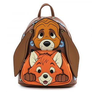Loungefly Disney Fox and Hound  Cosplay Mini Backpack – Rugtas met afbeelding van Frank en Frey.