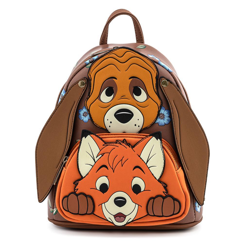 Loungefly Disney Fox and Hound Cosplay Mini Backpack – Rugtas met afbeelding van Frank en Frey.
