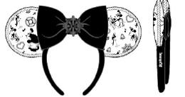 LOUNGEFLY DISNEY STEAMBOAT WILLIE EARS BOW ROPE PIPING HEADBAND OREN DIADEEM