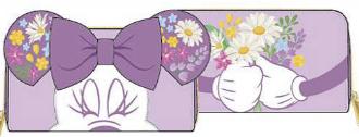 LOUNGEFLY DISNEY MINNIE HOLDING FLOWERS ZIP AROUND WALLET / PORTEMONNEE