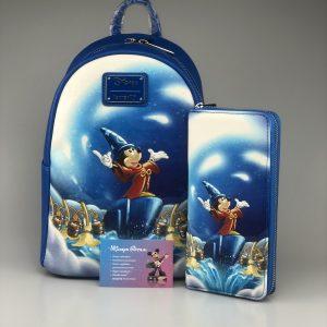 Loungefly Disney Fantasia Sorcerer Mickey Set: Mini Backpack / Rugzak + Wallet / Portemonnee AANBIEDING !!!