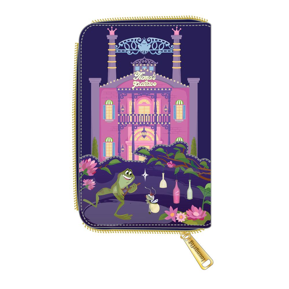LOUNGEFLY DISNEY PRINCESS AND THE FROG TIANA'S PALACE ZIP AROUND WALLET / PORTEMONNEE