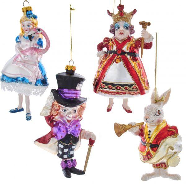 Kerst Ornamenten / Kerstballen Set Alice in Wonderland Kurt S Adler